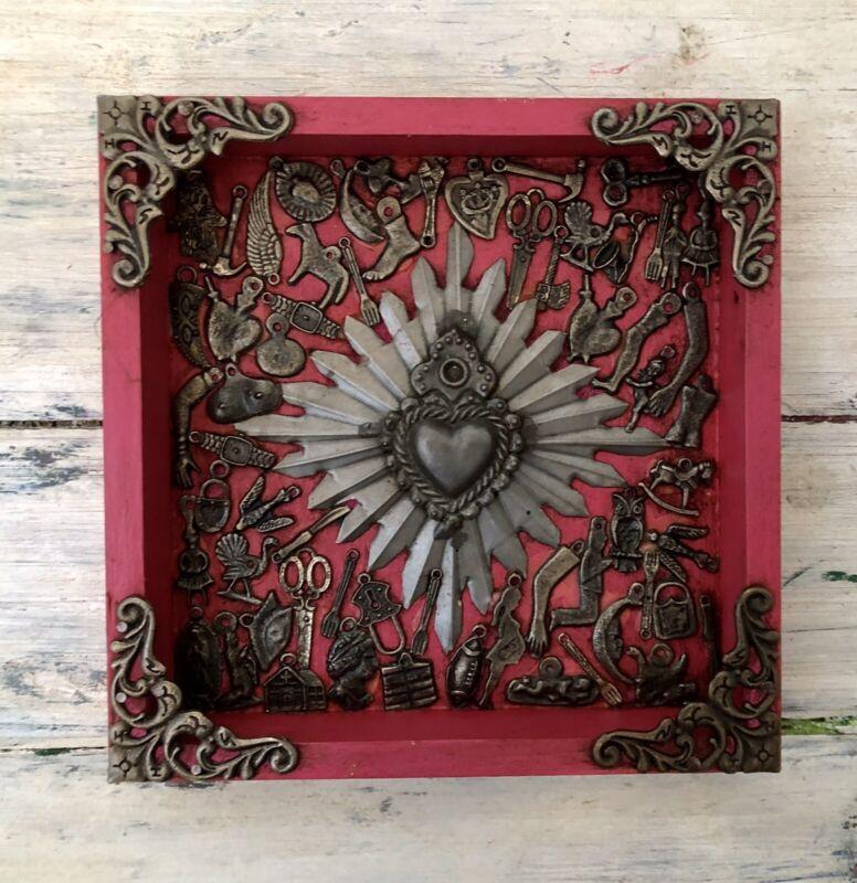 Mexican MILAGROS HEART Frame, ExVotos Sacred Heart Shadowbox, Pink