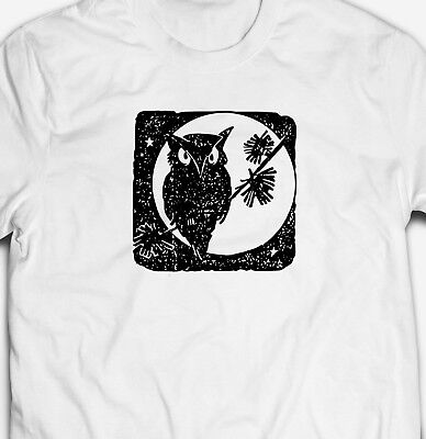 MENS HALLOWEEN COOL OWL AT NIGHT 100% COTTON TRICK OR TREAT T-SHIRT TEE TOP