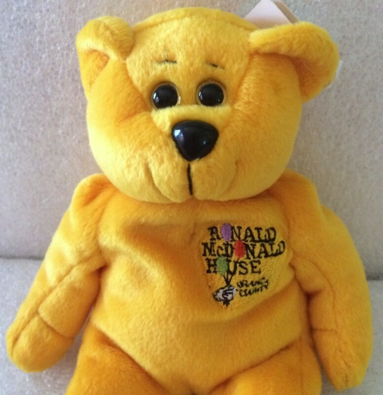 Classic Collecticritter Gold Bear Beanbag Ronald McDonald House OC Frank & Sons