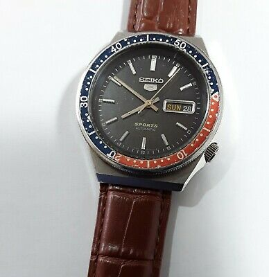 Seiko 5 Sports 6309 836A automatic watch Pepsi bezel black dial used vintage