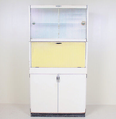 Retro Vintage Kitchen Cabinet Kitchenette Larder White Yellow