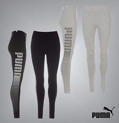 Puma Stretch Leggings (Ladies Genuine Puma Stretch Skinny Style Logo Leggings Workout Pants Size 8-16)