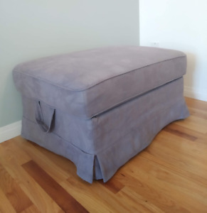 Lavender fabric ottoman with storage
