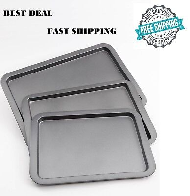 Wilton Cookie Sheet Pan Set of 3 Non Stick Bakeware Heavy Duty Oven Dishwasher