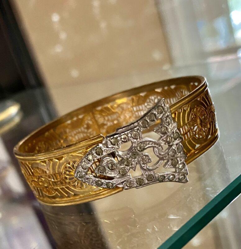 Antique JJ White Gold Filled Filigree Bracelet With Clear Paste Stones c1921