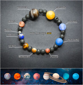 Solar System Bracelet. Healing Planet Stones Beads. Universe Jewellery Bangle.