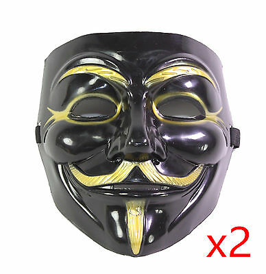 2 Black V for Vendetta Guy Fawkes Anonymous Costume Halloween Cosplay Masks](Halloween Costumes For 2 Guys)