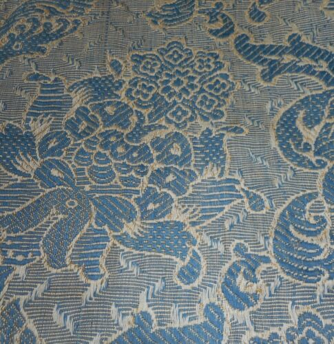 Antique  19thc French Woven Linen Cotton Floral Jacquard Fabric~ Blue Gray