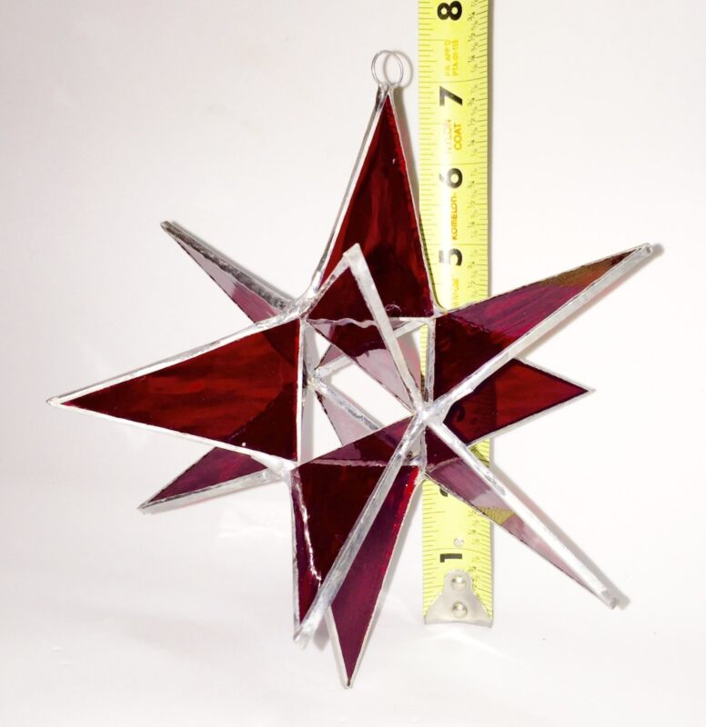 7 INCH RED MORAVIAN STAINED GLASS STAR - HANDMADE by FIESTA COLOR