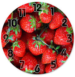 STRAWBERRIES CLOCK Large 10.5 inch Round Wall Clock FOOD, FRUIT - 2118