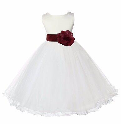 Ivory Tulle Flower Girl Dresses (IVORY WEDDING BRIDESMAID FORMAL GOWN FLOWER GIRL DRESS TULLE 12M 2 3 4 6 8 10)