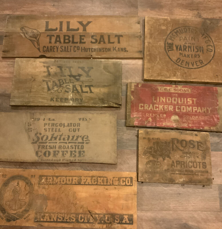 1900's Advertising Wood Crate Ends Mining Supply Stamped Labeled Different Brand