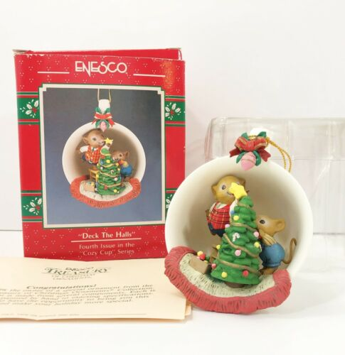 Enesco Treasury Deck The Halls Cozy Cup Series 4th Issue Ornament 1990