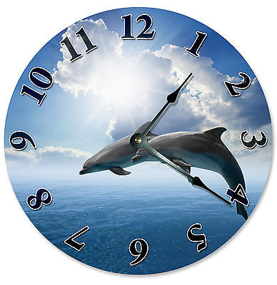 DOLPHINS AND BLUE SKY CLOUDS CLOCK Large 10.5 inch Round Wall Clock 2109 Blue Dolphins Wall Clock