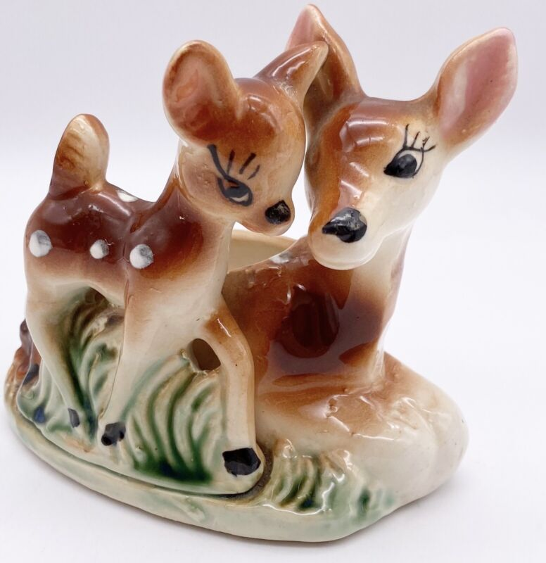 Vintage Shafford Planter Deer Doe Baby Fawn Ceramic Hand Decorated