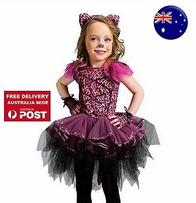 Kids Girl Pink dots Cat Kitty Costume Halloween PARTY Dress Tulle Tutu headband