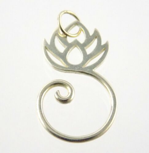 Sterling Silver Lotus Flower Curled Pendant or Charm 925 Spiral Design 1.5g
