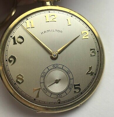 Hamilton Pocket Watch, Grade 917, 17 Jewels, 16 Size, Gold-Filled Open Face Case