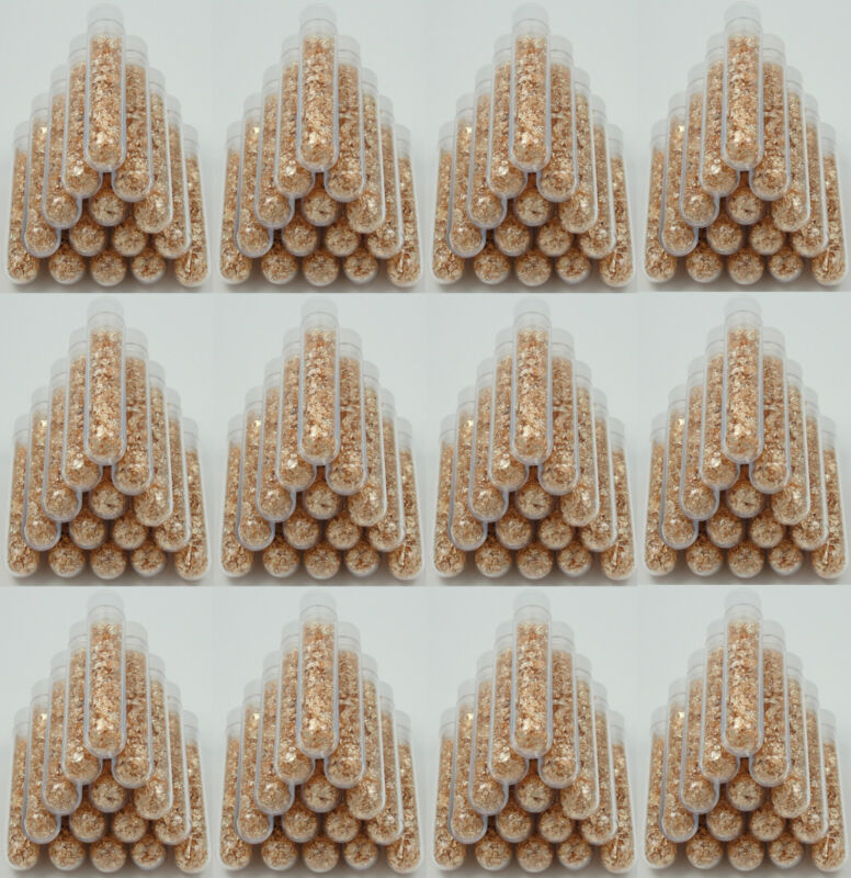 100 Large 3ml Vials, Filled Full of BIG Gold Leaf Flakes LOWEST PRICE ON THE WEB