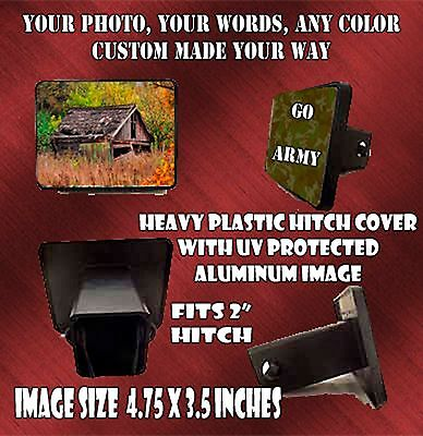 PERSONALIZED TRAILER HITCH COVER CUSTOM PHOTO TEXT CAR SUV BOAT MEMORIAL GIFT