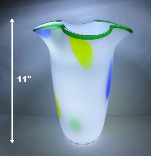 "GREAT PRICE! 11"" ART DECO WHITE FLARED RIM w COLORED SPOTS STUDIO ART GLASS VASE"