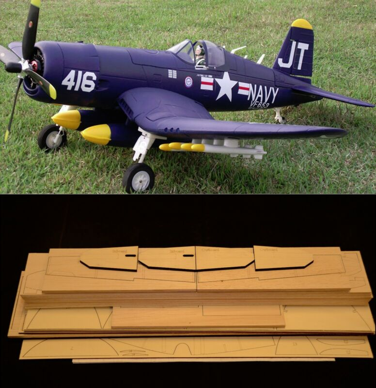 "82"" wing span F4U CORSAIR R/c Plane short kit/semi kit and plans"