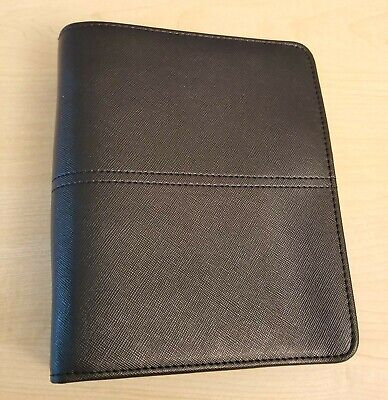Franklin Covey Compact Faux Leather Open Unstructured Binder 6 Rings 1.25 Black