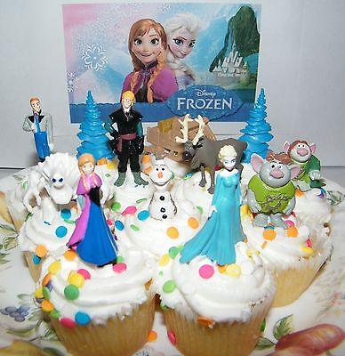 Disney Frozen Movie Cake Toppers Party Favors Set of 13 Bonus US Seller (Cake Toppers Frozen)