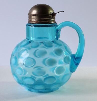 Antique Victorian NORTHWOOD COINSPOT Blue Opalescent Art Glass Syrup Pitcher
