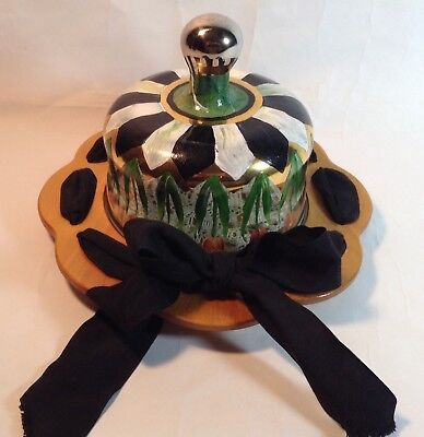MacKENZIE CHILDS CHEESE PLATE AND DOME -- BEAUTY