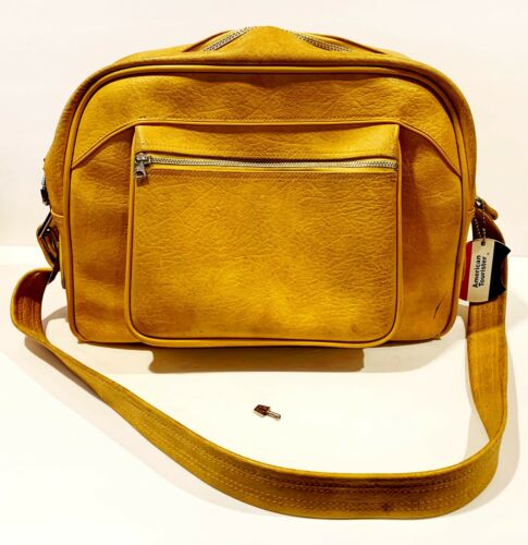 Vintage American Tourister Yellow Luggage Carry On Tote Shoulder Overnight Bag - $50.00