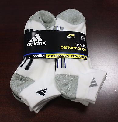 NWT 6 Pair Adidas Men's Performance Low Cut Cushioned Socks White BRAND NEW SET