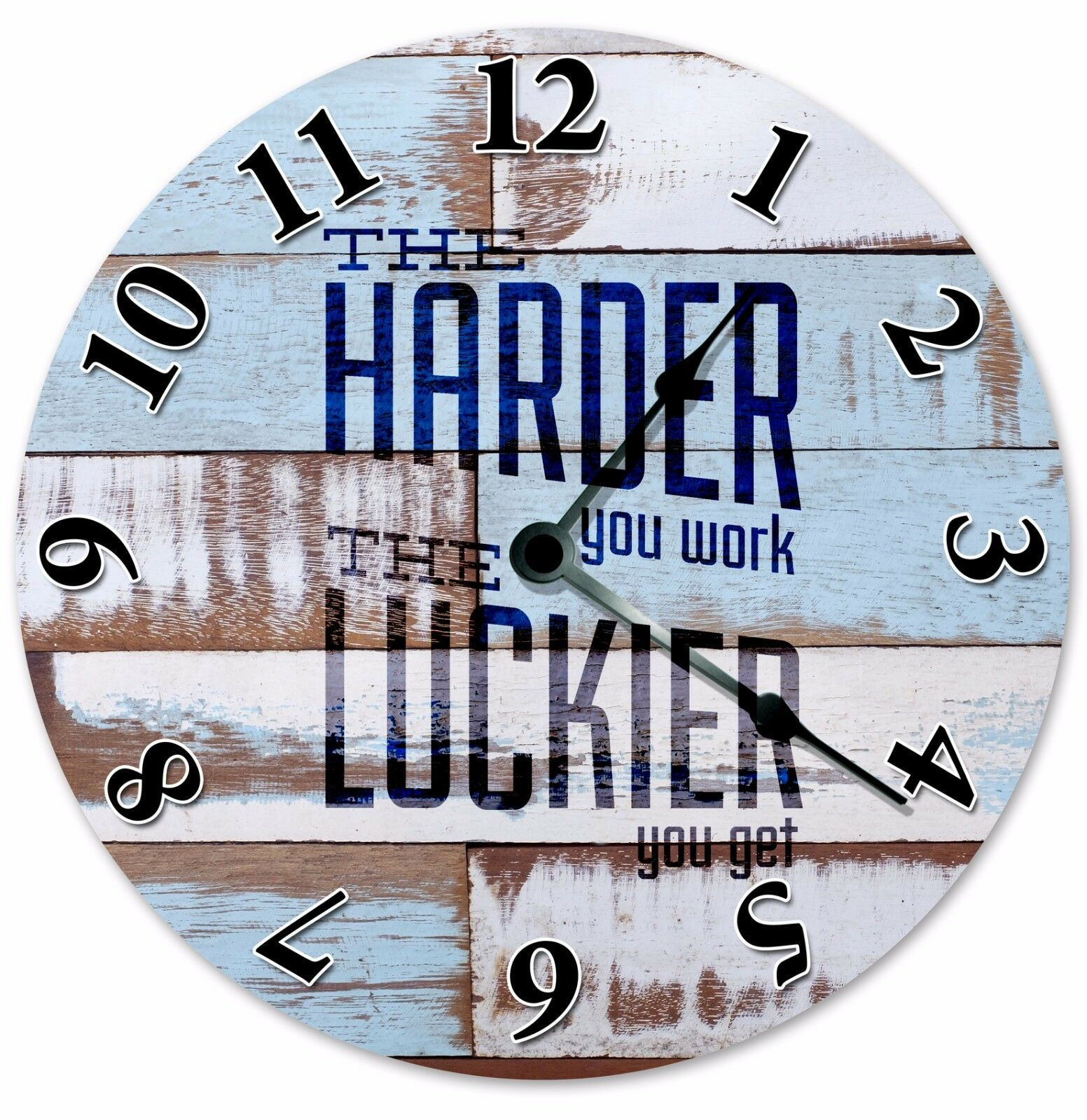 """HARDER YOU WORK Luckier You Get Clock - Large 10.5"""" Wall Clock - 2044"""