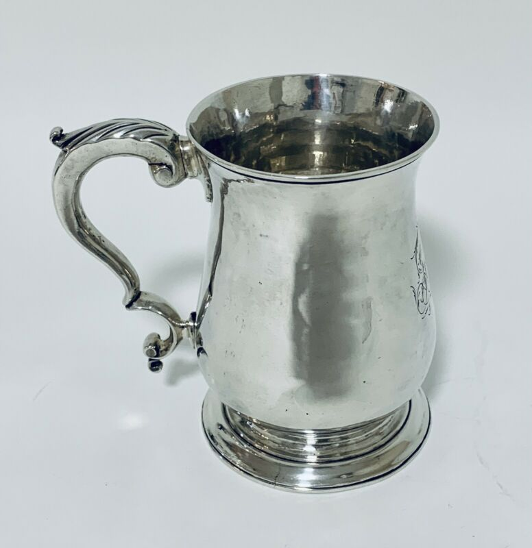 Georgian 18th Century Antique Solid Sterling Silver Tankard Mug Cup 1770