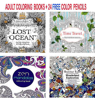 4 x Colouring Books Drawing Fun Creative Relax Art Children + 24 Colour Pencils