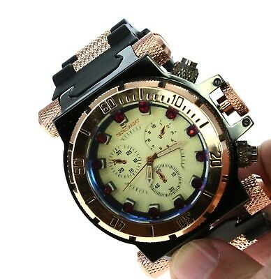 Mens Oversize Watch Tecno Sport IP Gun & RG Plated Silicone Band With -
