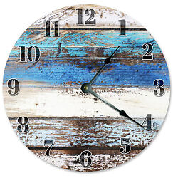 WORN RUSTIC BLUE TAN CLOCK Large 10.5 inch Round Wall Clock PRINTED WOOD - 2099