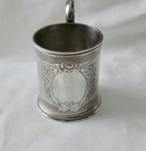 ANTIQUE  1860's COIN SILVER  BRIGHT ENGRAVED  MUG ~ TANKARD ~ CUP