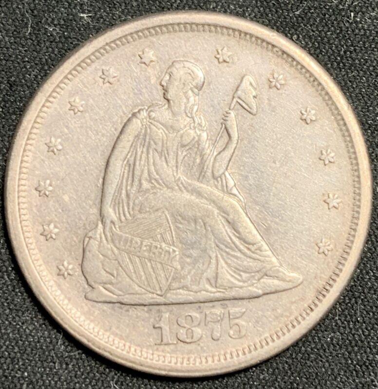 1875-S 20c Twenty Cent Piece - Nice AU