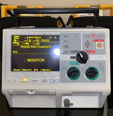 Zoll M Series Biphasic 200 Joules Monitor 3 Lead Ecg Pacing Analyze - Ready