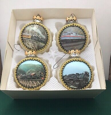 Set of 4 Vintage Train Christmas Glass Ornaments Silk Picture West Germany