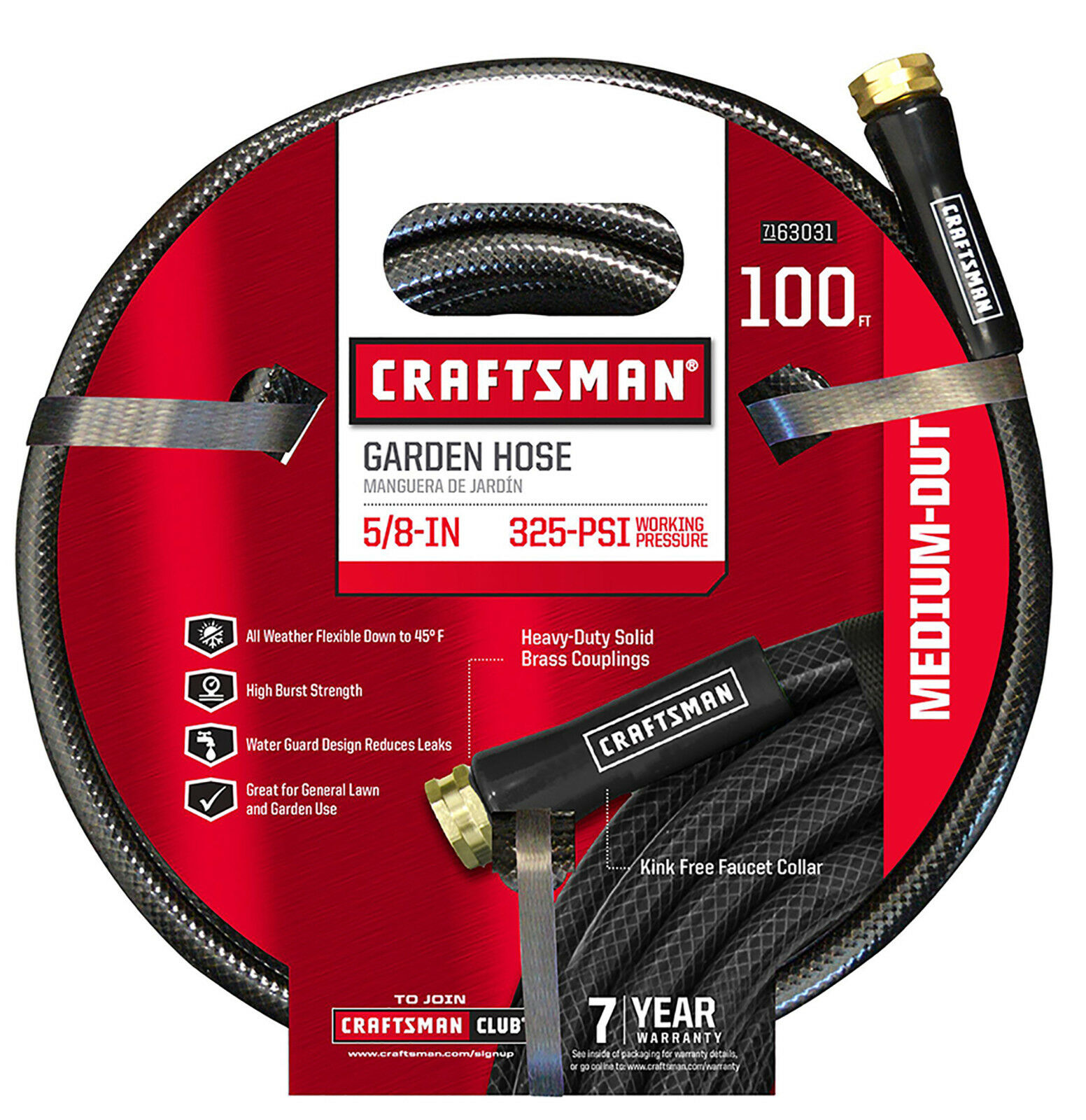 Craftsman Garden Hose 5/8 Inch 100 ft Black Medium Duty Bras