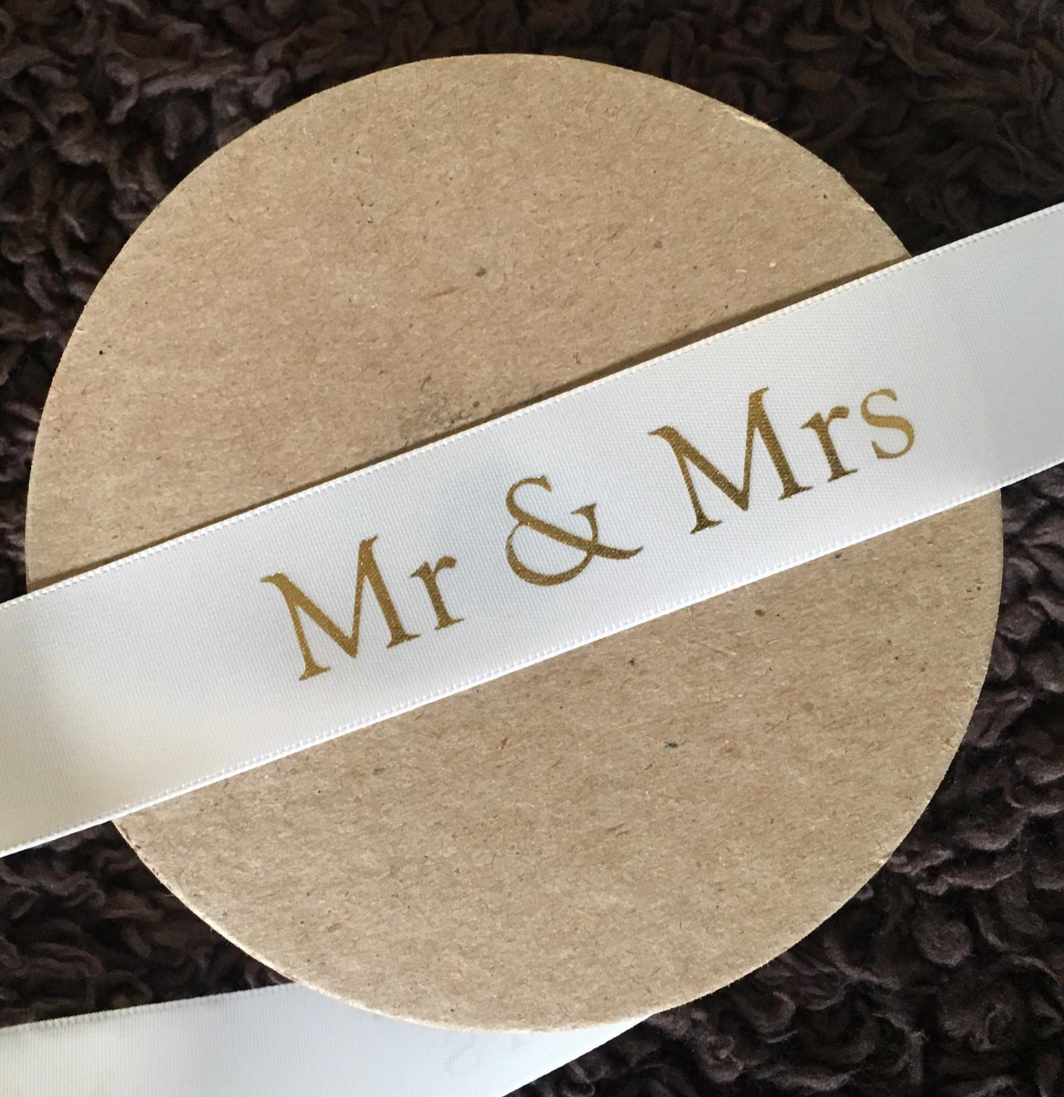 "Beautiful 25mm White /& Gold Satin /""Mr /& Mrs/"" Ribbon Wedding"