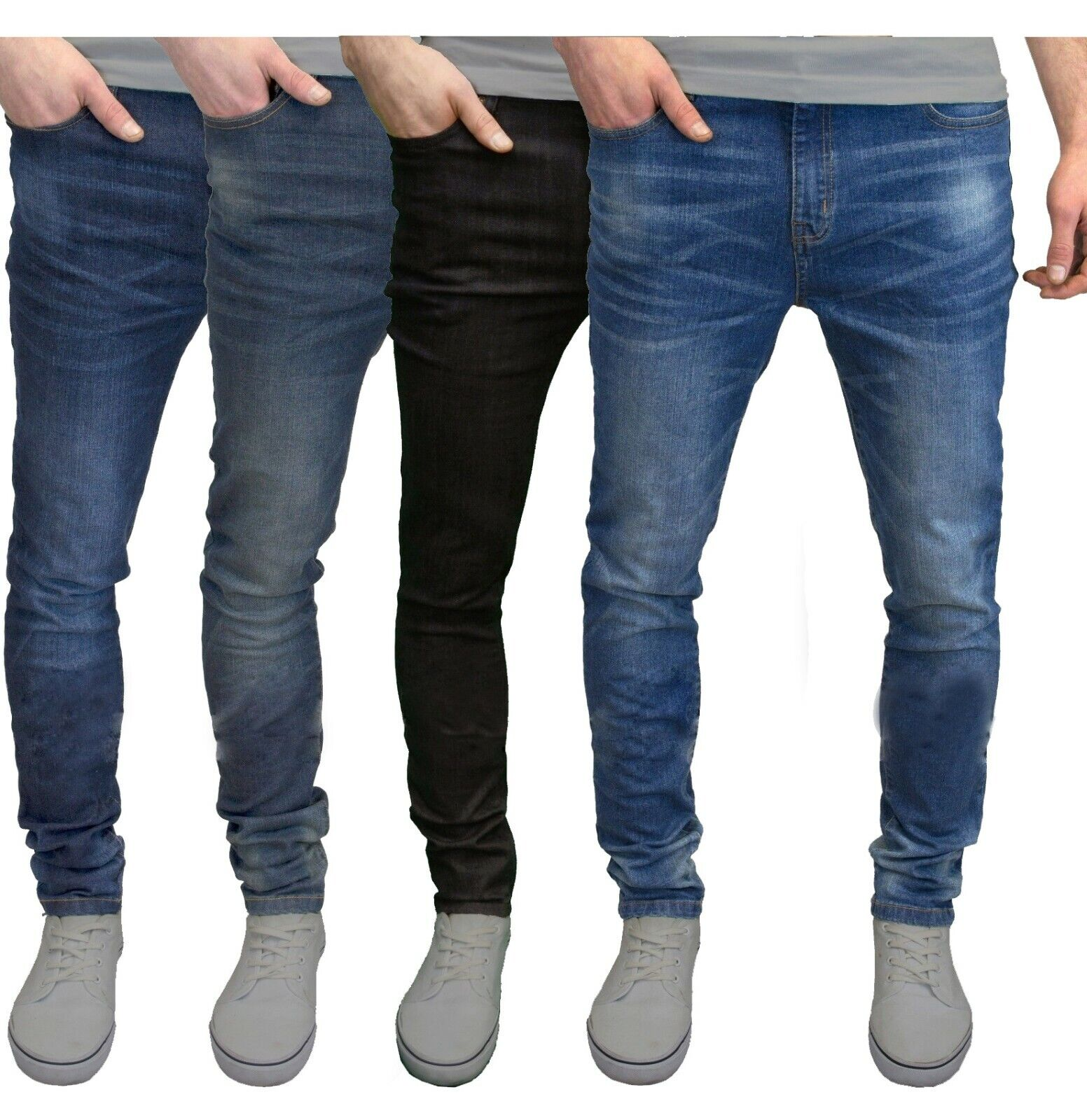 Mens Slim Fit Jeans Super Stretch Denim Pants Slim Skinny Casual Designer Jeans Clothing, Shoes & Accessories