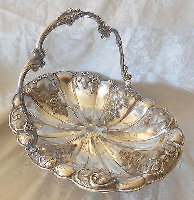 Silver plated Wedding Basket Brides Oblong Repousse Elaborate fruit bread bowl