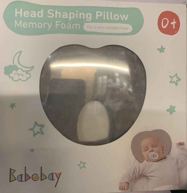 BabeBay Head Shaping Pillow Memory Foam 0+ Flat Head Prevention Grey NEW