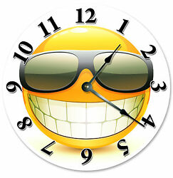 COOL SMILEY FACE WITH SUNGLASSES CLOCK Large 10.5 inch Wall Clock - 2104