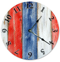 RED WHITE BLUE PRINTED WOOD CLOCK Large 10.5 inch Round Wall Clock 2133
