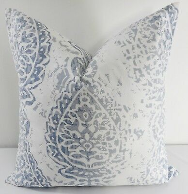 Cashmere blue  & White  pillow cover. Manchester Print Cover. Cotton.Select -