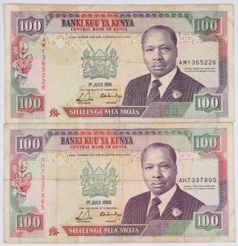 Lot of 2 1990 & 1991 Kenya 100 Shillings Banknotes Colorful